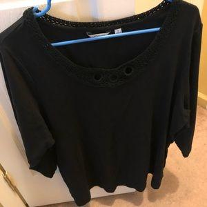 Liz Claiborne 1X women's black blouse